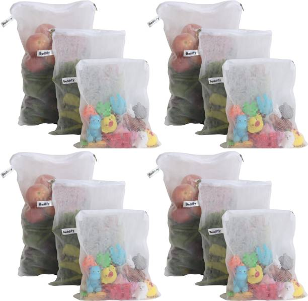 Beddify Multi-purpose Reusable Fridge Storage Bags for Vegetables and Fruits (4 Small, Medium and Large Size) Pack of 12 Grocery Bags