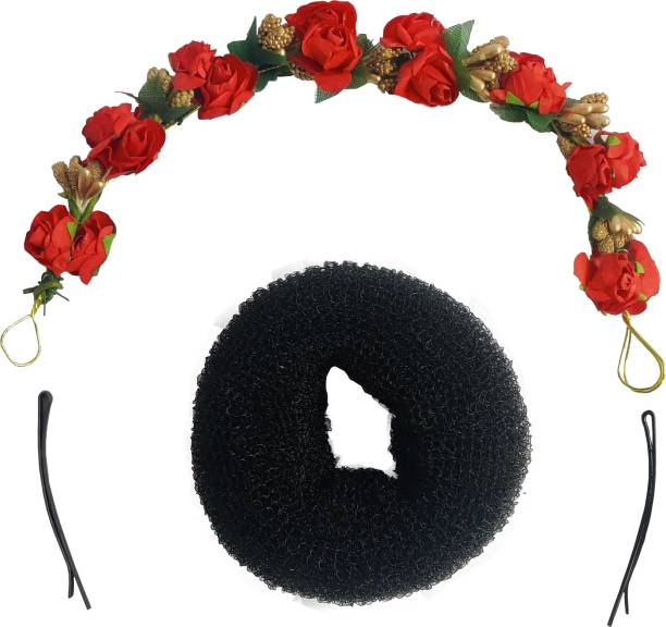 Kidzoo Artificial Red Rose Flower Gajra & Juda Bun Maker Donuts & 2 Side Hairpin Hairclips Hair Accessories Set For Women And Girls Wedding Festival Use Hair Gajra For Gift Multi Color Hair Accessory Set