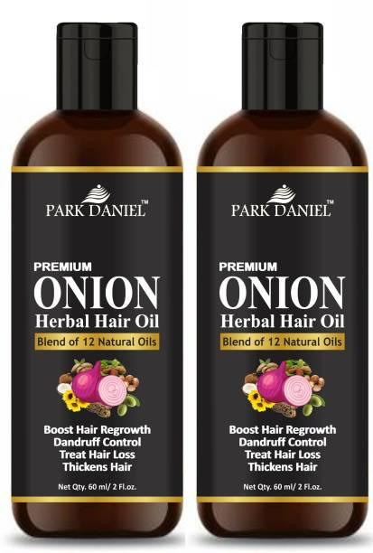 PARK DANIEL Premium Onion Herbal Hair Oil - For Hair GrowthCombo Pack of 2 bottle of 60 ml(120 ml) Hair Oil