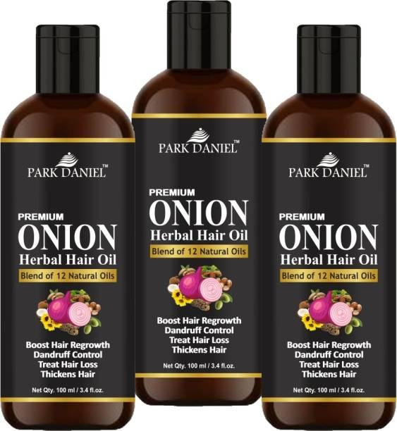 PARK DANIEL Premium ONION Herbal Hair oil- For Hair Regrowth, Dandruff Control, Treat Hair loss & Thickens hair Combo pack of 3 bottles of 100 ml(300 ml) Hair Oil