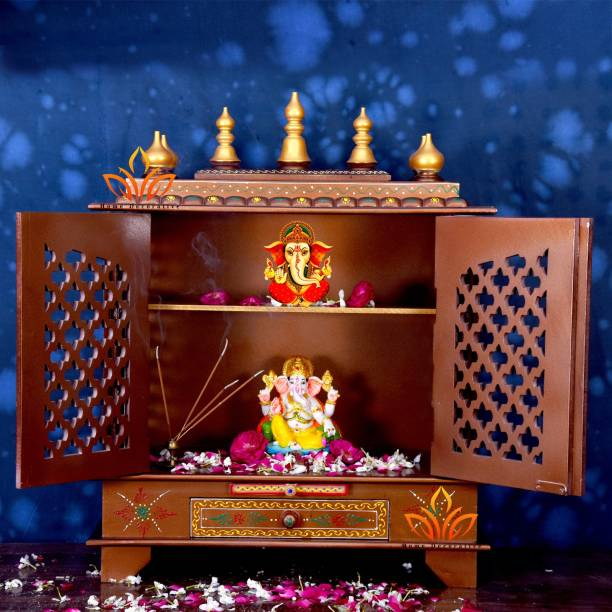 HOME DECORATIVES Home Decorative Handpainted Wooden Temple Large Size 24x12x30(Inch)/Rajasthani Wood Temple/Temples/Brown/Wooden Temple/Pooja Mandir/Mandap/Wooden Mandir… Solid Wood Home Temple