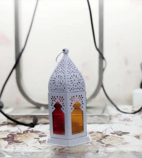Designer International White Iron Hanging Lantern