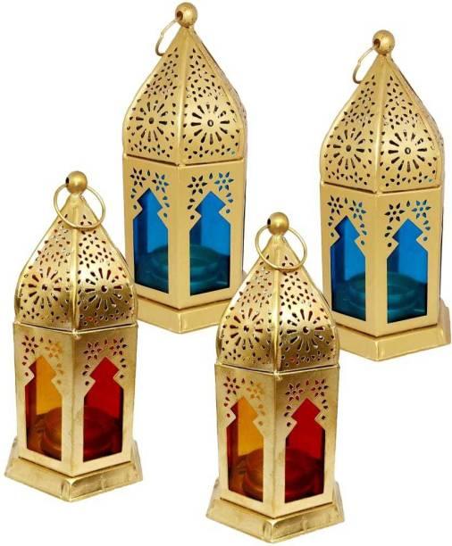 Designer International Designer International Decorative Moksha Hanging Lantern/Lamp with t-Light Candle, SET OF 4 GOLD Blue, Red Iron Hanging Lantern