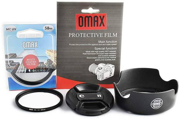 OMAX Basic Accessories Kit for Can EOS 1200D,1300D,1500D (EF-S 18-55mm is II) Camera  Lens Hood