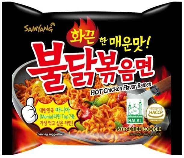 Samyang Hot Chicken Ramen Stir Fried Noodles,Instant Noodles Non-Vegetarian 5Pack (Imported) (Pack of 5) Instant Noodles Non-vegetarian