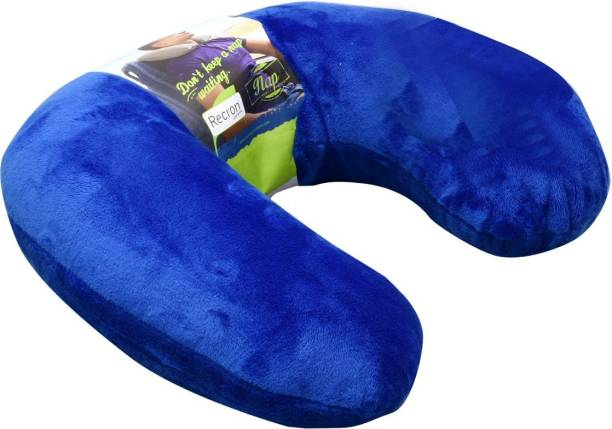RECRON CERTIFIED Polyester Fibre Solid Travel Pillow Pack of 1