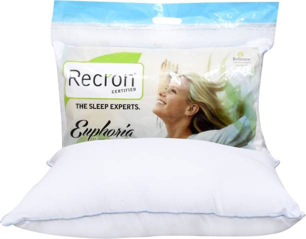 RECRON CERTIFIED Polyester Fibre Stripes Sleeping Pillow Pack of 1