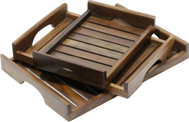 SIFU COLLECTION Wood Carver Wooden Rectangular Handmade Coffee Serving Tray Great for Food and Drink (Brown) - Set of 3 Tray