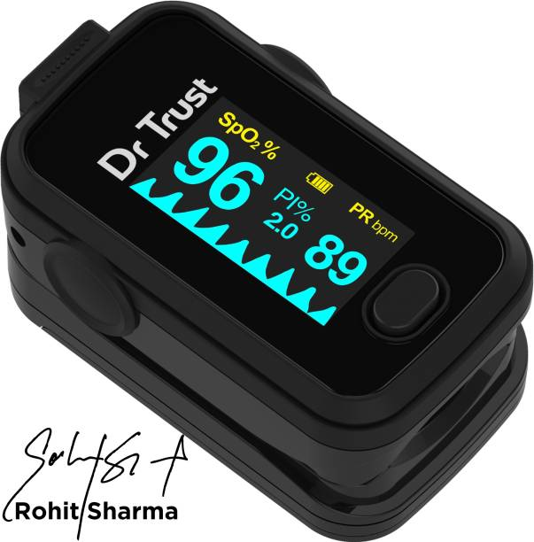 Dr. Trust (USA) Signature Series FingerTip with AUDIO VISUAL ALARM water resistant ( Midnight Black) Pulse Oximeter