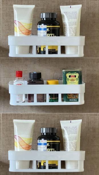 Cpixen Bathroom Shelf No Drill Easy to Installeted Strong Adhesive Sticker Rack Dishwasher Liquid, Brush, Cloth, Soap, Sponge, Heir Oil, etc(Bathroom Shelve-3Pcs Combo) Plastic Wall Shelf