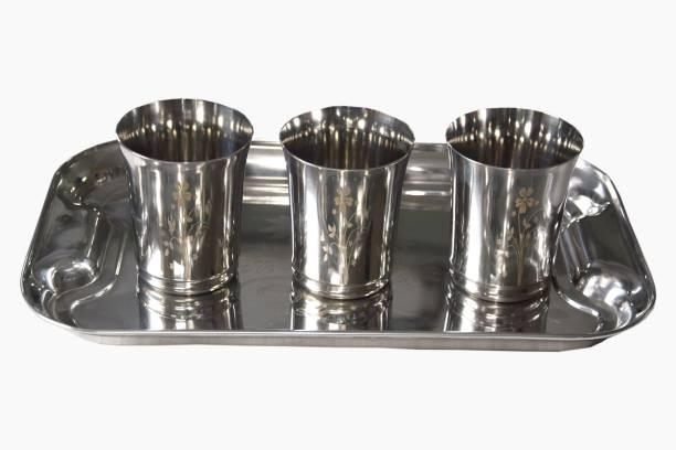 Marudhar Steel MS16 Glass Tray Set