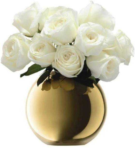 AGAMI Beautiful Golden Reflective Round Glass Vase pot for Flowers and plants Glass, Earthenware Vase
