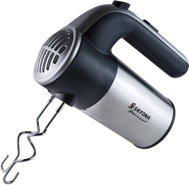 Mw Mall India 300-Watt Hand Mixer Beater Blender Electric Cream Maker for Cakes with Base 5 Speed Control and 2 Stainless Steel Beaters, 2 Dough Hooks Stainless Steel Spiral Whisk