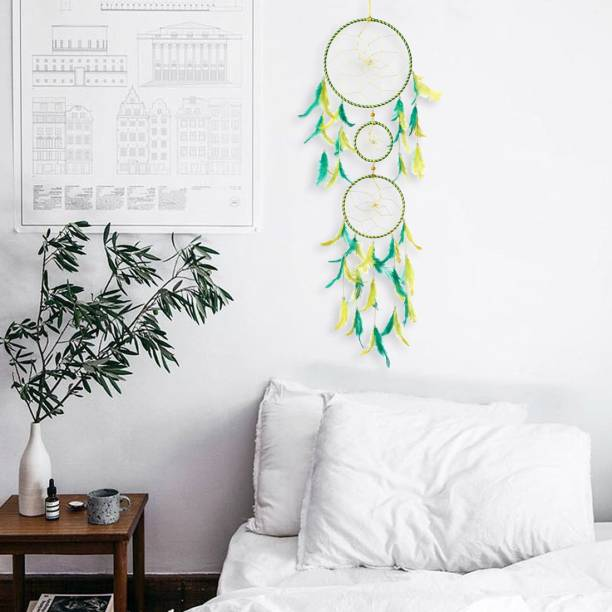 DULI Dreamcatcher Handmade Wall Art for Bedrooms |Wall Hanging For Office, Balcony, Outdoors, Garden, Home Wall | Homedecor Hanging 3 Ring Design |Brings Positive Energy (Yellow-Green) Wool, Feather, Steel Dream Catcher