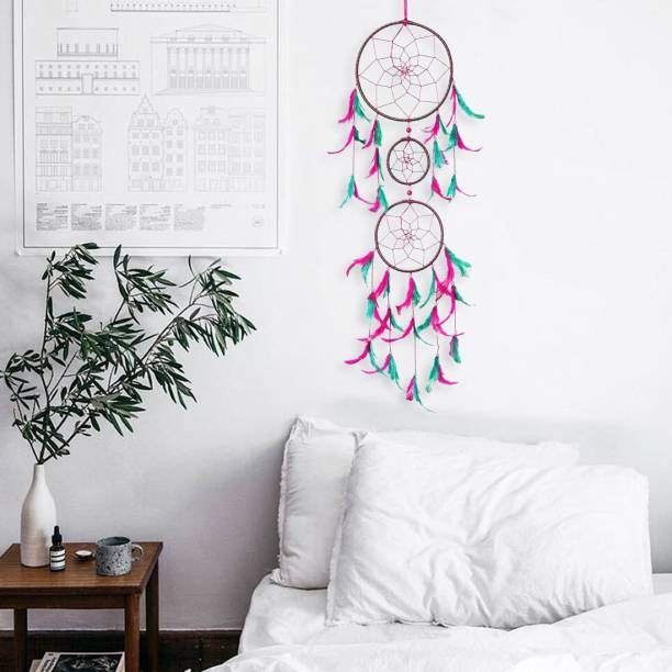 DULI Dreamcatcher Handmade Wall Art for Bedrooms |Wall Hanging For Office, Balcony, Outdoors, Garden, Home Wall | Homedecor Hanging 3 Ring Design |Dream Catcher Height 76 cm |Brings Positive Energy (Pink-Green) Wool, Feather, Steel Dream Catcher