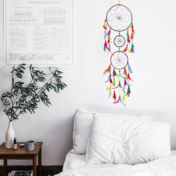 DULI Dreamcatcher Handmade Wall Art for Bedrooms |Wall Hanging For Office, Balcony, Outdoors, Garden, Home Wall | Homedecor Hanging 3 Ring Design |Dream Catcher Height 76 cm |Brings Positive Energy (Multi) Wool, Feather, Steel Dream Catcher