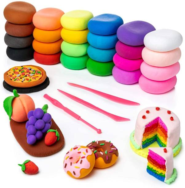 MODIFIED DIY Colourful Non-Toxic Modeling Air Dry Bouncing Clay with Tools (12 Pcs)