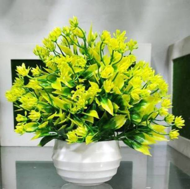 shanol Best For Home/Office Table Decoration or Gift Table Flower Pot Bonsai Wild Artificial Plant with Pot Artificial Plant with Pot Bonsai Potted Plastic money plant, yellow flowers plant, Faux Green Grass Fake Topiaries Shrubs for Home, Garden and Office, doors Decor Wild Artificial Plant with Pot table flower pot, (18 cm, yellow Green, white pot ) pack of 1 Artificial Plant with Pot (18 cm, Yellow, Green, Brown) Artificial Plant  with Pot