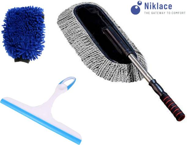 Niklace Car Cleaning Accessories Combo Pack 3 in 1 Microfiber Duster, Glass Wiper, Microfiber Gloves Full Interior and Exterior Cleaning Kit Combo