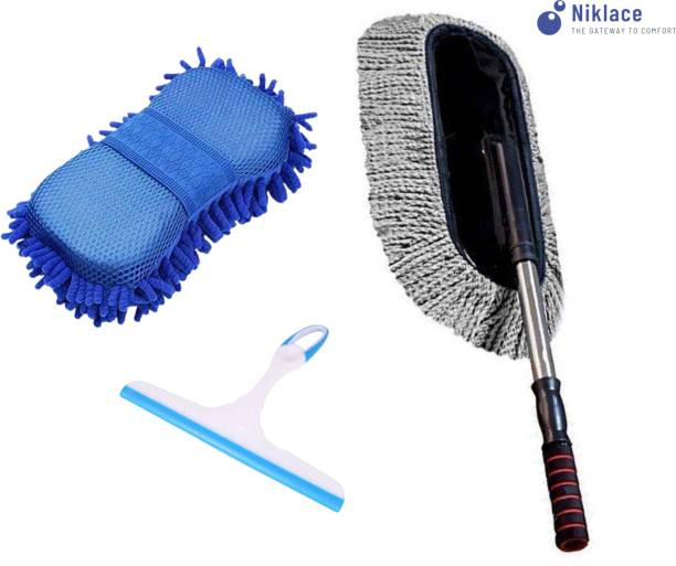 Niklace Car Cleaning Accessories Combo Pack 3 in 1 Microfiber Duster, Washing Scrub Sponge, Glass Wiper, Full Interior and Exterior Cleaning Kit Combo