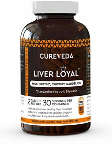 Cureveda Liver Loyal herbal supplement - Milk Thistle (silymarin) For detox & liver support - pack of 1