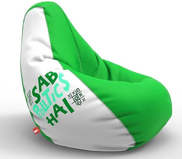 ComfyBean XXL Designer Bean Bag Filled with Beans - Sab Politics Hai Teardrop Bean Bag  With Bean Filling