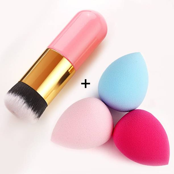 BELLA HARARO Extra Soft Foundation Brush with 3 Sponge puff blender - (Pack of 4)