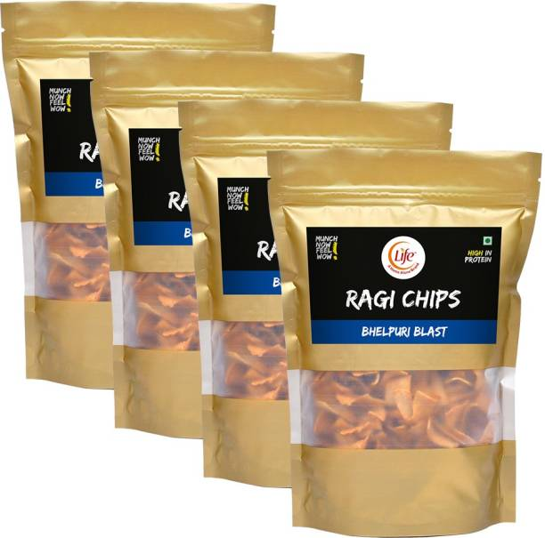 Life RAGI Chips Fiber Gluten Free   Bhelpuri   Flavour (Each-150g) Namkeen & Protein Snack Evening Party Munch Anytime Crunch  Pack of 4  (Combo Pack - 600g) Chips