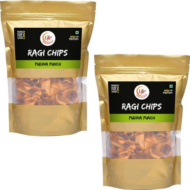 Life RAGI Chips Fiber Gluten Free | Pudina | Flavour (Each-150g) Namkeen & Protein Snack Evening Party Munch Anytime Crunch |Pack of 2| (Combo Pack - 300g) Chips
