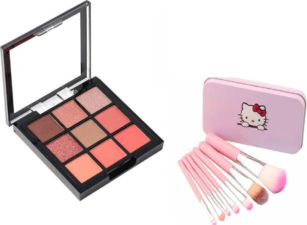 Love Nature Mini Eyeshadow 9 Colors Palette With Hellokitty mini Pink brush set