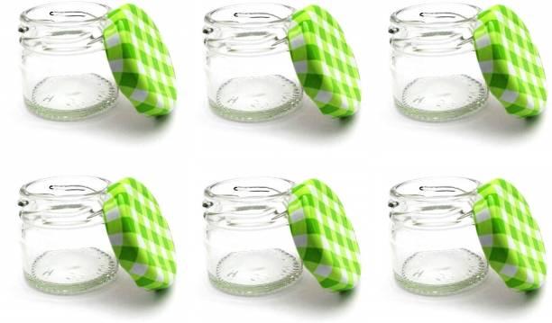 HAVME Mini Glass Jar with airtight Checked Green Cap  - 31 Glass Honey Jar