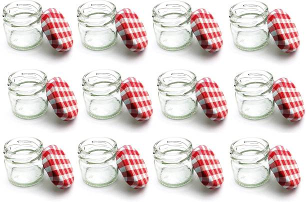 HAVME Mini Glass Jar with airtight Checked Red Cap  - 31 ml Glass Honey Jar