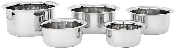 NEWLAND kitchenware stainless steel tope/pot/patila set of 5 pcs durable different size mirror finish (5 piece set) Induction Bottom Cookware Set