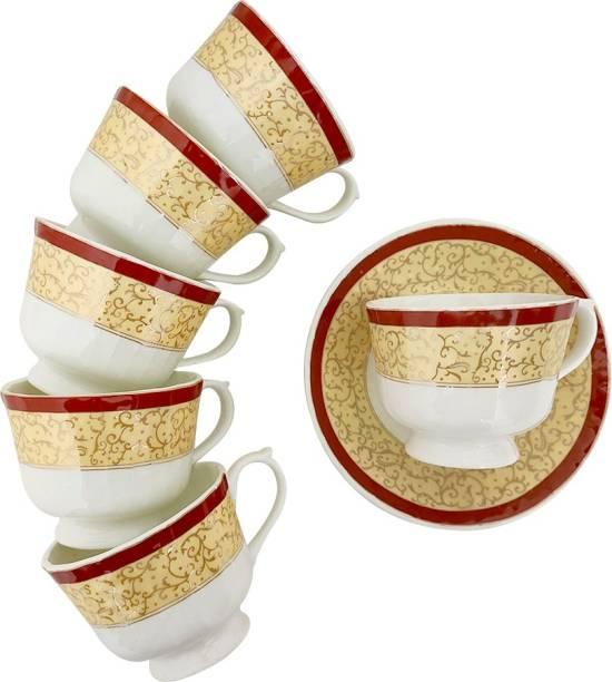 UPC Bone China Premium Quality Cup & Saucer Set - Set of 6 Cups and 6 Saucers