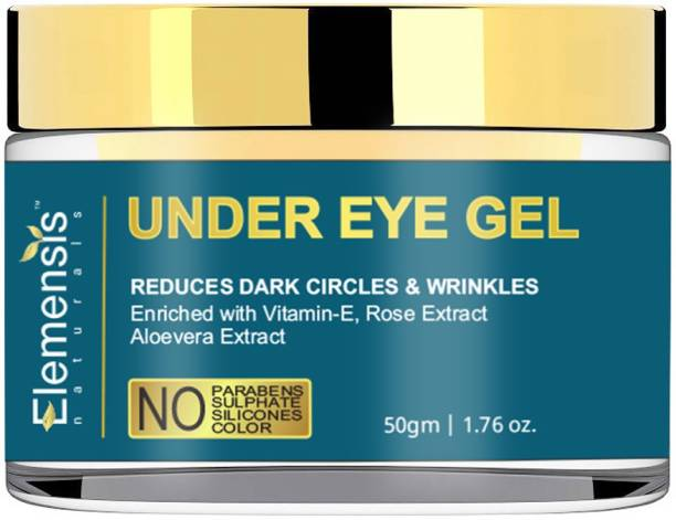 Elemensis Naturals Premium Under Eye Gel to Reduce Dark Circles, Puffiness and Fine Lines Enriched with Aloe vera, Rose Extract & Vitamin E - 50gm