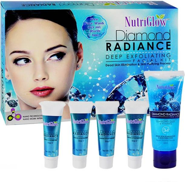 NutriGlow Diamond Radiance Facial Kit 55g With Face Wash 65ml