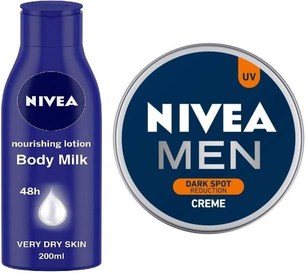 NIVEA Nourishing Lotion Body Milk With Deep Moisture Serum And 2x Almond Oil for Very Dry Skin, 200ml And Men Creme, Dark Spot Reduction Cream, 75ml