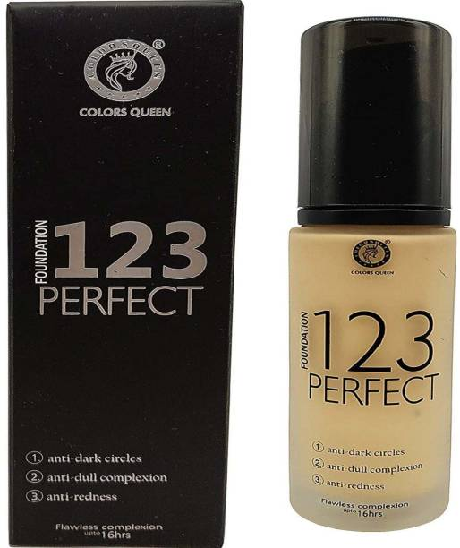 COLORS QUEEN ACSR 123 Perfect Foundation Anti Dark Circle, Anti Dull Complexion, Anti Redness For All Skin Type Smudge Proof Foundation