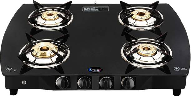 Kitchnx Toughened Glass /LPG Gas Stove/Cook-Top/Glass-Top/4 Burner Steel Automatic Gas Stove