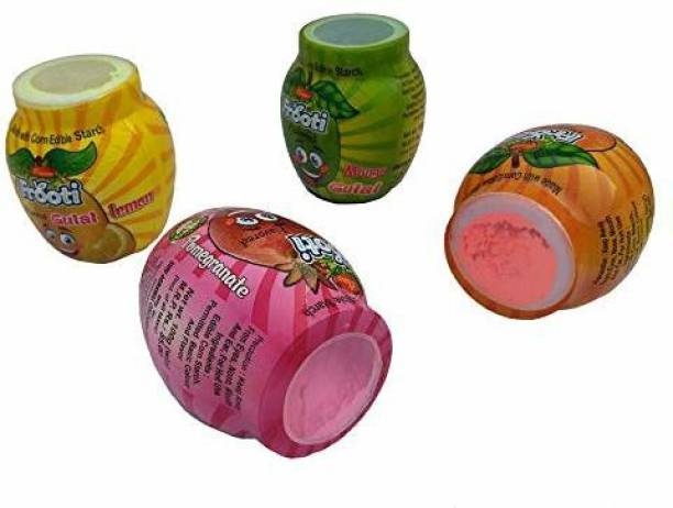 VR Creatives Holi Multicolour Powder Made with Edible Corn Starch (Pack of 4 Flavor - Mango, Orange, Lemon, Pomegranate) Weight 20gm Each Colour x 4 = 80gm Holi Color Powder Pack of 4