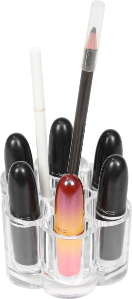 QUAPRO Lipstick Cosmetic Holder | Makeup Storage | Vanity Organizer | Transparent Colour | 12 Slot Storage Stand | Flower Shaped | Eyebrow Pencil Holder | Makeup Brush Stand | Dressing Accessories | STORAGE Vanity Box