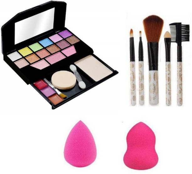 Insta Beauty Makeup Kit for Girls + 5 Piece Makeup Brushes + 2 Puffs