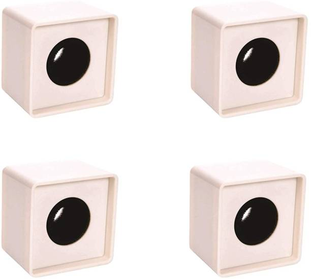 WON ABS Injection Molding Square Cube Interview Mic Microphone Logo Flag Station Logo -White PACK OF 4 Flag Logo Holder