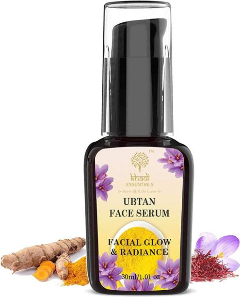 Khadi Essentials Ayurvedic Ubtan Face Serum for Facial Glow & Anti-Tan with Vitamin C, Sea Buckthorn, Amla, Avocado, Aloe Vera, Cucumber, Neem & Green Tea Extracts