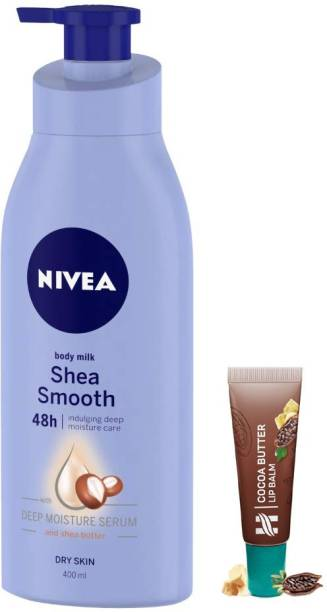 NIVEA Smooth Milk with Shea Butter Body Lotion 400ml With Cocoa Butter LipBalm 10g