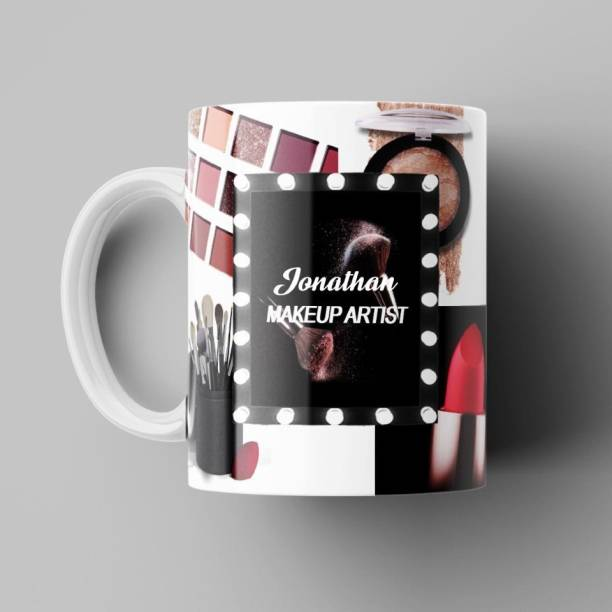 Beautum Makeup Artist with Name Jonathan Printed Best Gift for Boys, Girls, Husbands, Wives and Specially for Artist and for Everyone White Ceramic Coffee (350) ml Model No: BMKU008497 Ceramic Coffee Mug