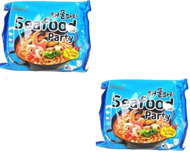Samyang Seafood Party Flavor -125* Pack 2 (Pack of 2) (Imported) Instant Noodles Non-vegetarian