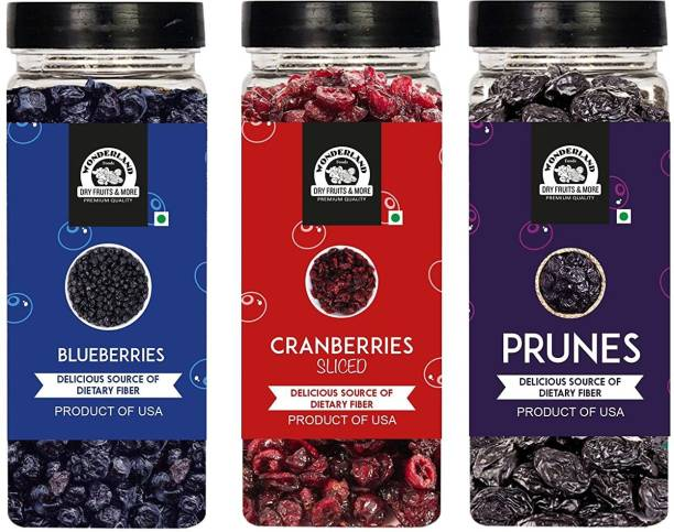 WONDERLAND Foods Dried Fruits Berries Set Combo Pack (Blueberry 250 g + Sliced Cranberry 200 g + Prunes 250 g) Low-Sugar in Jar Blueberry, Cranberries, Prunes