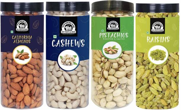 WONDERLAND Foods Premium Dry Fruits Combo Pack of 4 - 500 gram Each Almonds, Cashews, Pistachios, Raisins