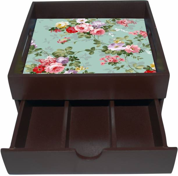 Enigmatic Woodworks Wooden Tray with Drawer  Kitchen Use or Home Décor  g  Vintage Flower Print   Tray